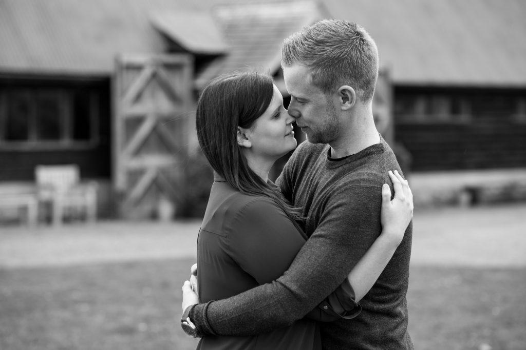 Wedding Photographer In Norfolk - Couple Nose To Nose During A Pre-Wedding Shoot
