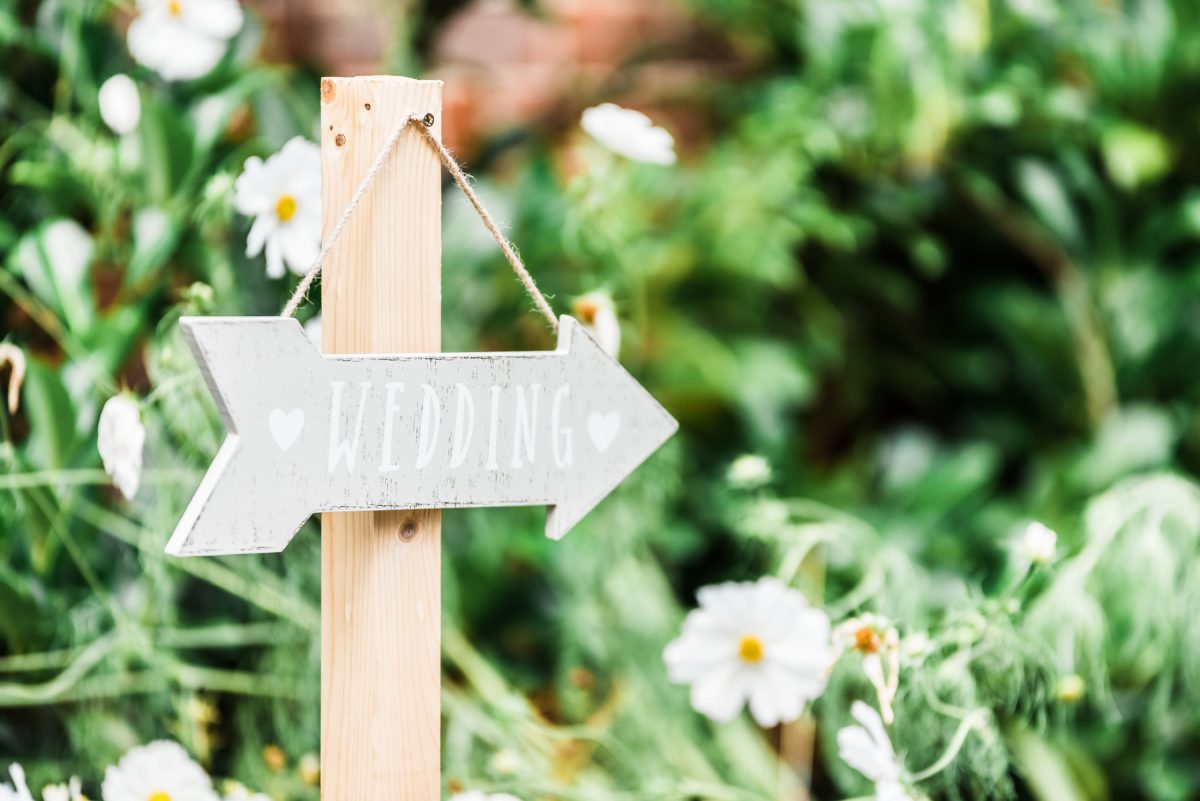 Contact James Malkin Photography - Wooden Arrow Sign Labelled Wedding