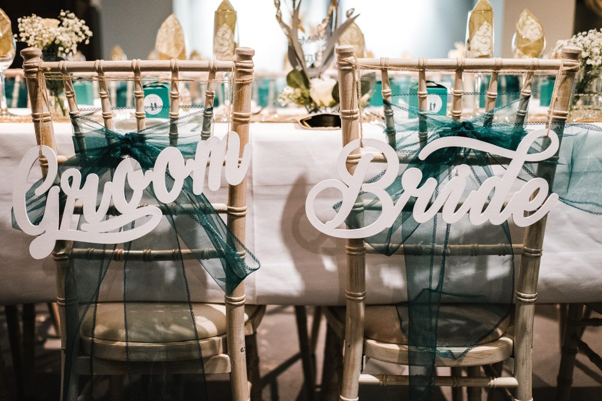 Bride and groom top table chair backs