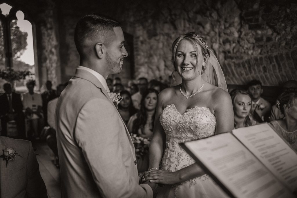 Bride and groom during a Pentney Abbey ceremony