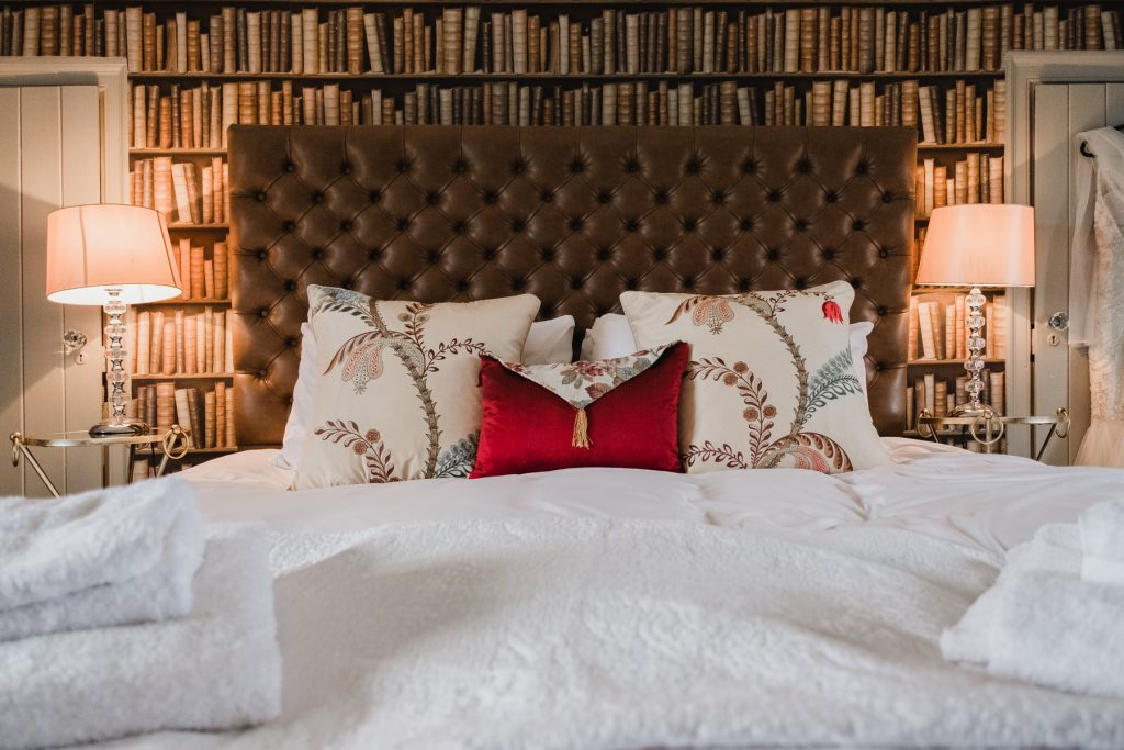 The main bedroom inside the Pentney Abbey bridal suite