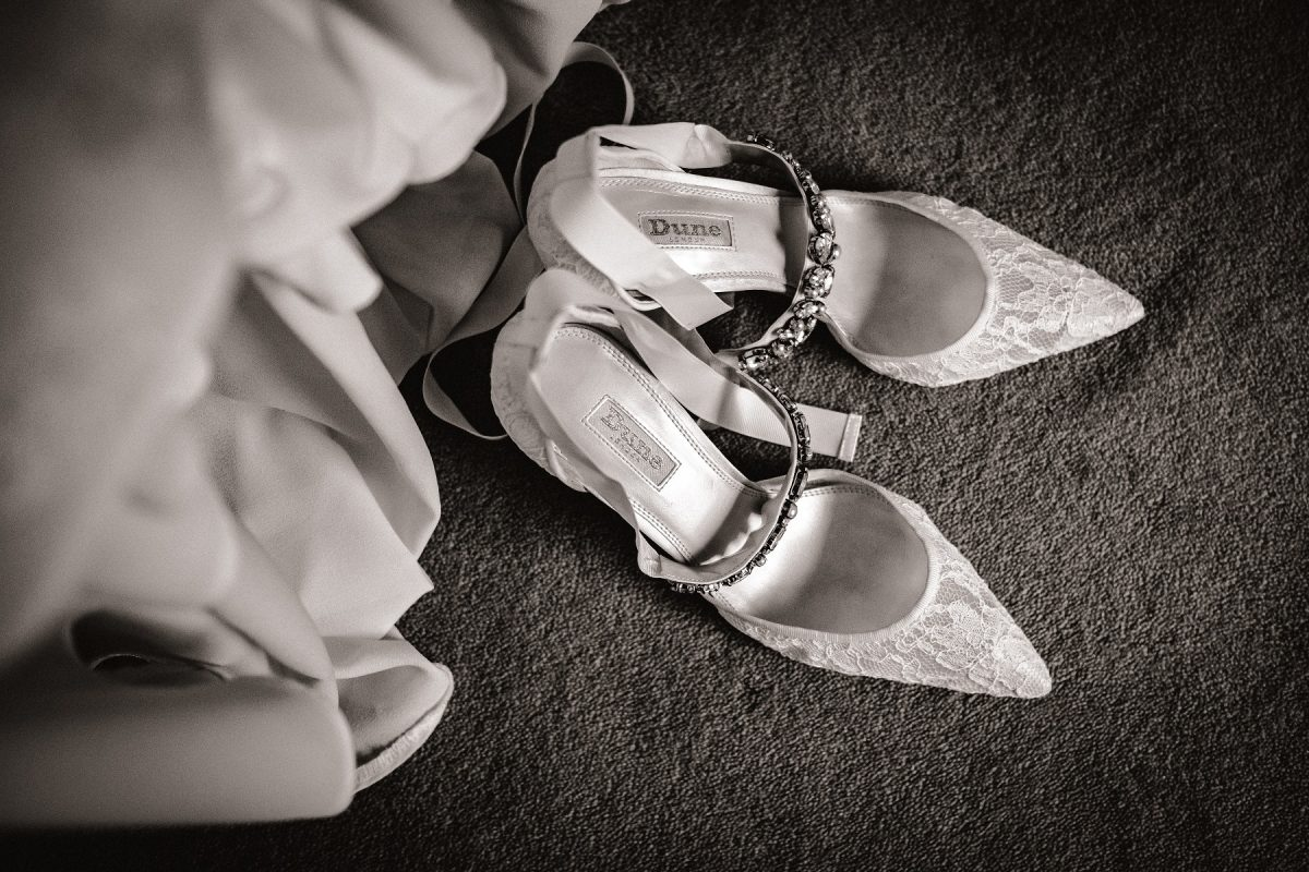 The brides shoes at Godwick Hall